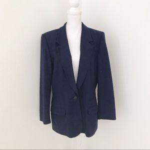Vintage Miss Pendleton Virgin Wool Navy Blazer 16